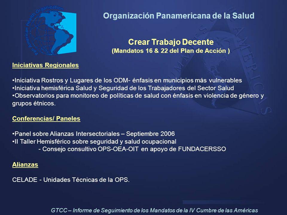 Crear Trabajo Decente (Mandatos 16 & 22 del Plan de Acción ) Iniciativas Regionales Iniciativa Rostros y Lugares de los ODM- énfasis en municipios más
