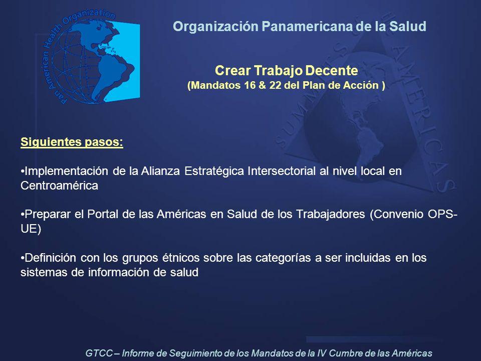 Organización Panamericana de la Salud Crear Trabajo Decente (Mandatos 16 & 22 del Plan de Acción ) Siguientes pasos: Implementación de la Alianza Estr
