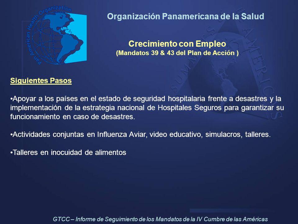 Organización Panamericana de la Salud Crecimiento con Empleo (Mandatos 39 & 43 del Plan de Acción ) Siguientes Pasos Apoyar a los países en el estado