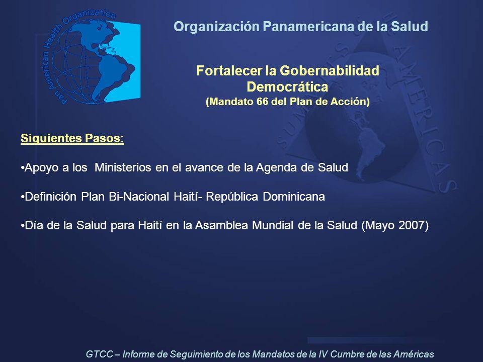 Organización Panamericana de la Salud Fortalecer la Gobernabilidad Democrática (Mandato 66 del Plan de Acción) Siguientes Pasos: Apoyo a los Ministeri