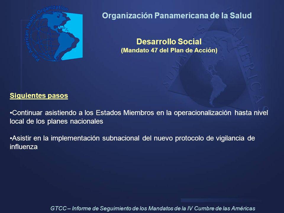 Organización Panamericana de la Salud Desarrollo Social (Mandato 47 del Plan de Acción) Siguientes pasos Continuar asistiendo a los Estados Miembros e