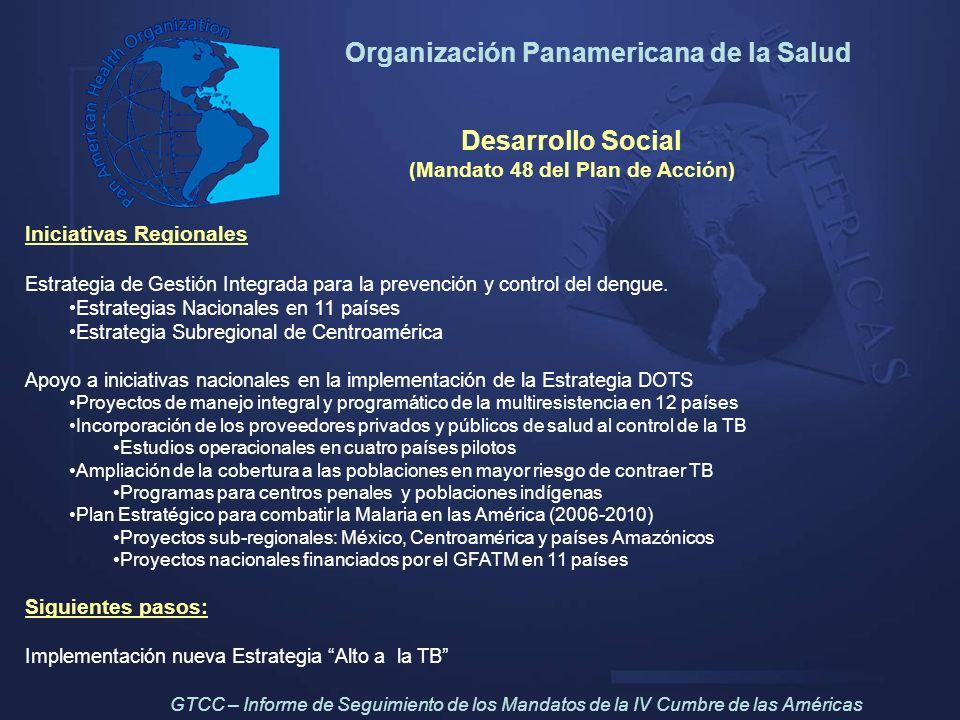 Organización Panamericana de la Salud Desarrollo Social (Mandato 48 del Plan de Acción) Iniciativas Regionales Estrategia de Gestión Integrada para la