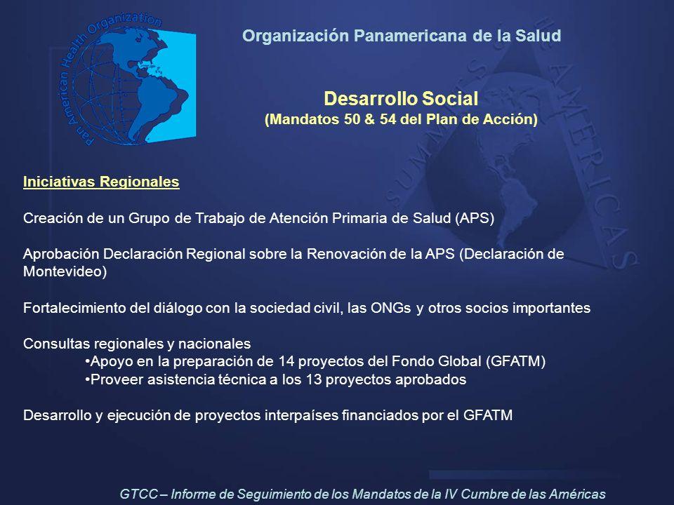 Organización Panamericana de la Salud Desarrollo Social (Mandatos 50 & 54 del Plan de Acción) Iniciativas Regionales Creación de un Grupo de Trabajo d