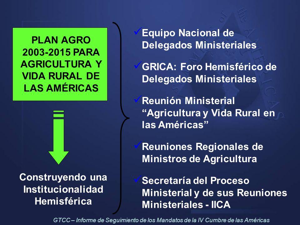 PLAN AGRO 2003-2015 PARA AGRICULTURA Y VIDA RURAL DE LAS AMÉRICAS Construyendo una Institucionalidad Hemisférica Equipo Nacional de Delegados Minister