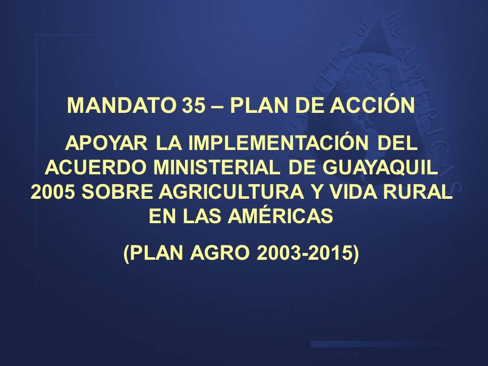 MANDATO 35 – PLAN DE ACCIÓN APOYAR LA IMPLEMENTACIÓN DEL ACUERDO MINISTERIAL DE GUAYAQUIL 2005 SOBRE AGRICULTURA Y VIDA RURAL EN LAS AMÉRICAS (PLAN AG