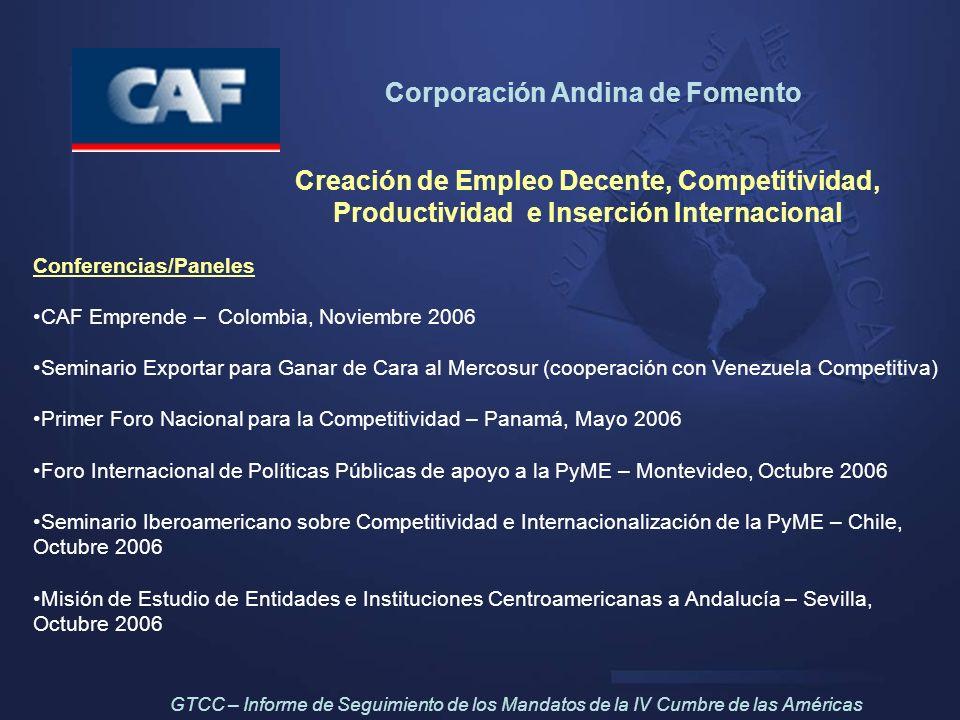Corporación Andina de Fomento Creación de Empleo Decente, Competitividad, Productividad e Inserción Internacional Conferencias/Paneles CAF Emprende –