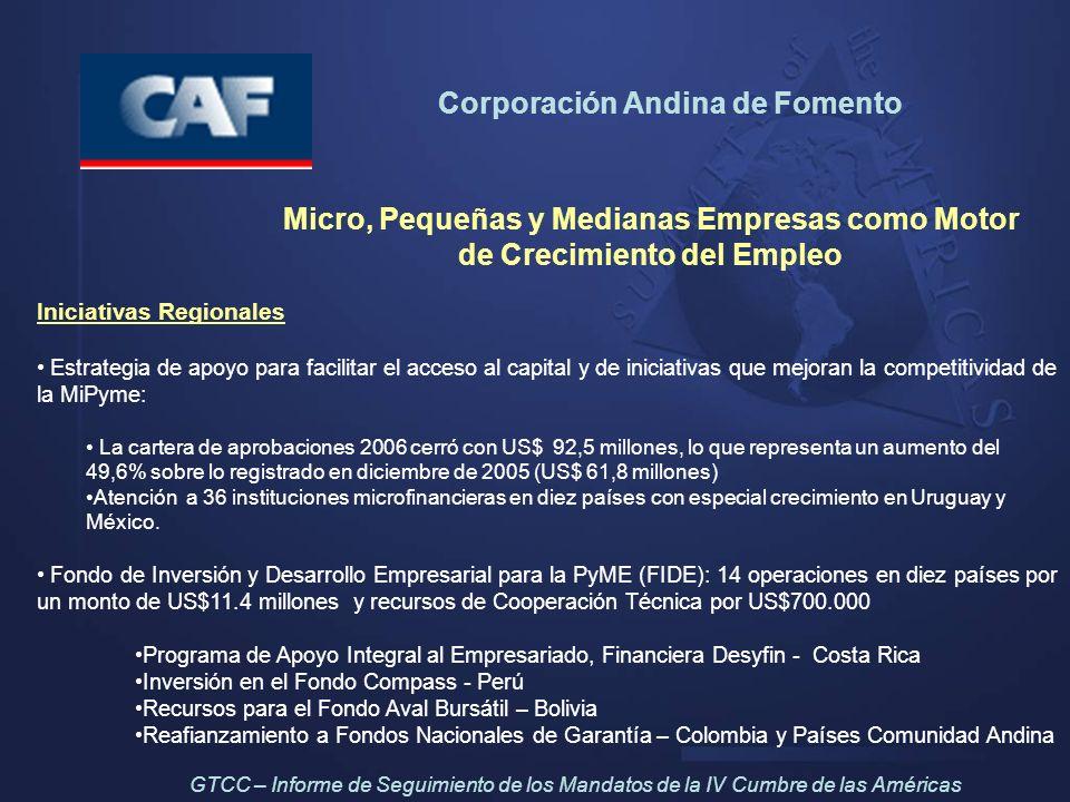 Corporación Andina de Fomento Micro, Pequeñas y Medianas Empresas como Motor de Crecimiento del Empleo Iniciativas Regionales Estrategia de apoyo para