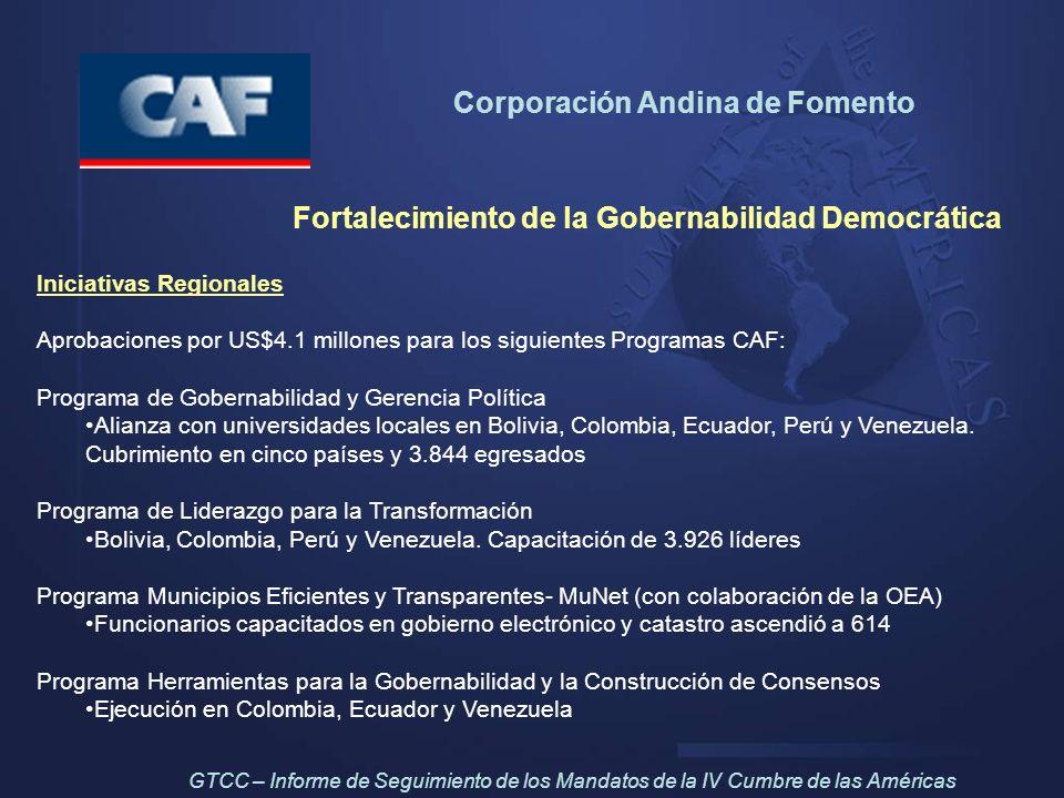 Corporación Andina de Fomento Fortalecimiento de la Gobernabilidad Democrática Iniciativas Regionales Aprobaciones por US$4.1 millones para los siguie
