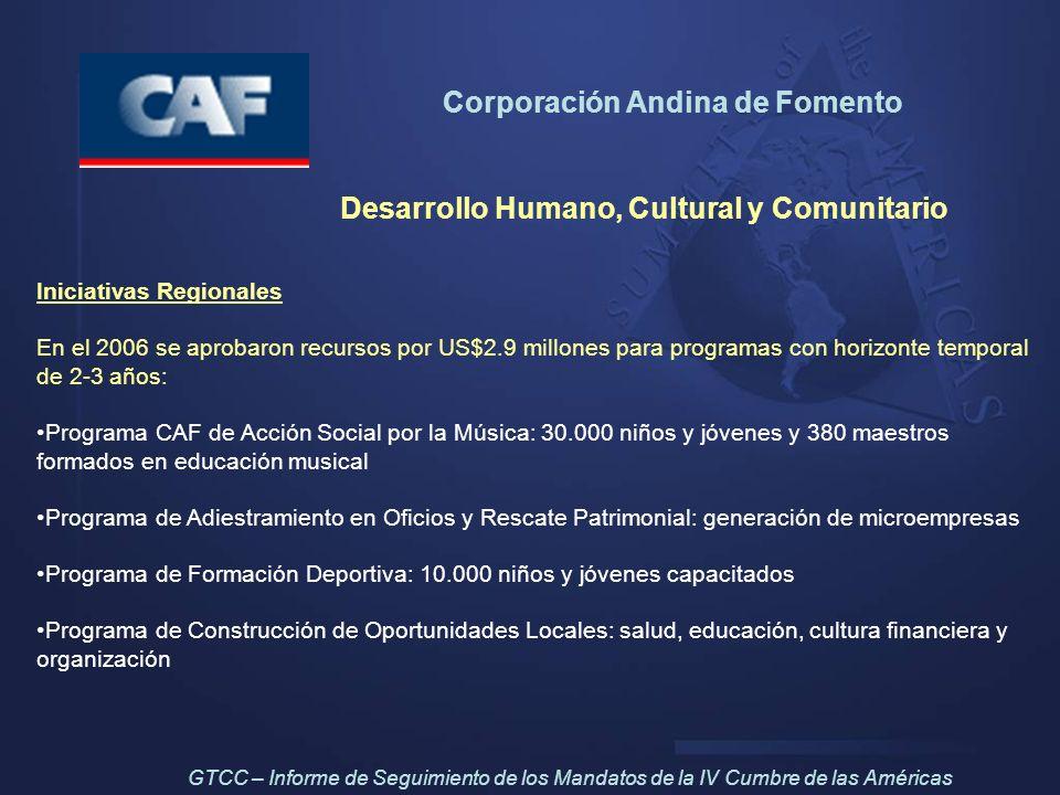 Corporación Andina de Fomento Desarrollo Humano, Cultural y Comunitario Iniciativas Regionales En el 2006 se aprobaron recursos por US$2.9 millones pa