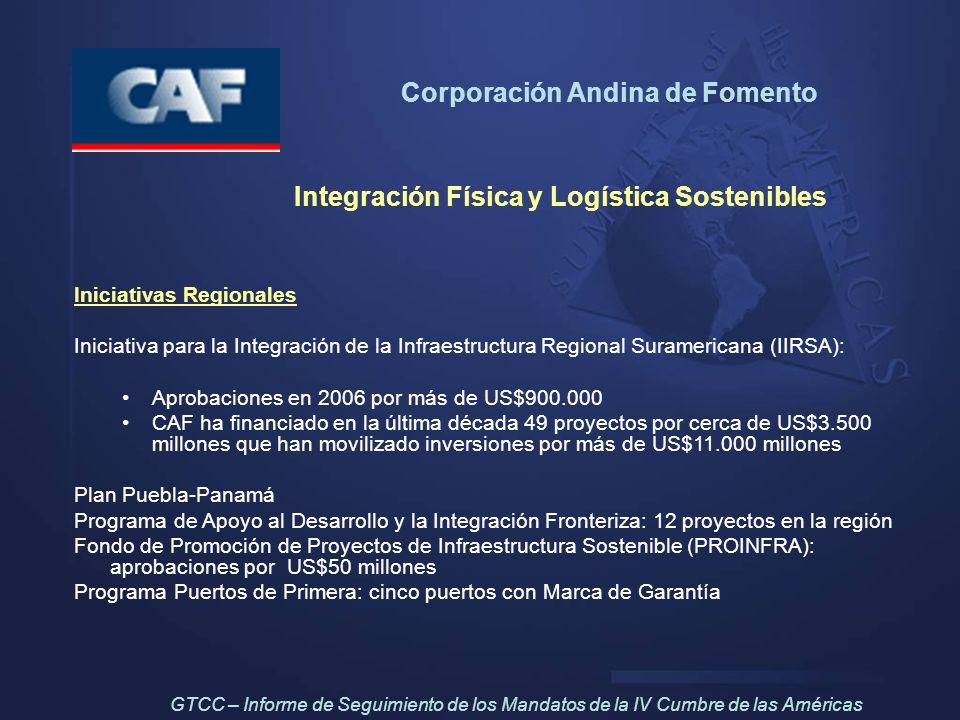 Corporación Andina de Fomento Integración Física y Logística Sostenibles Iniciativas Regionales Iniciativa para la Integración de la Infraestructura R
