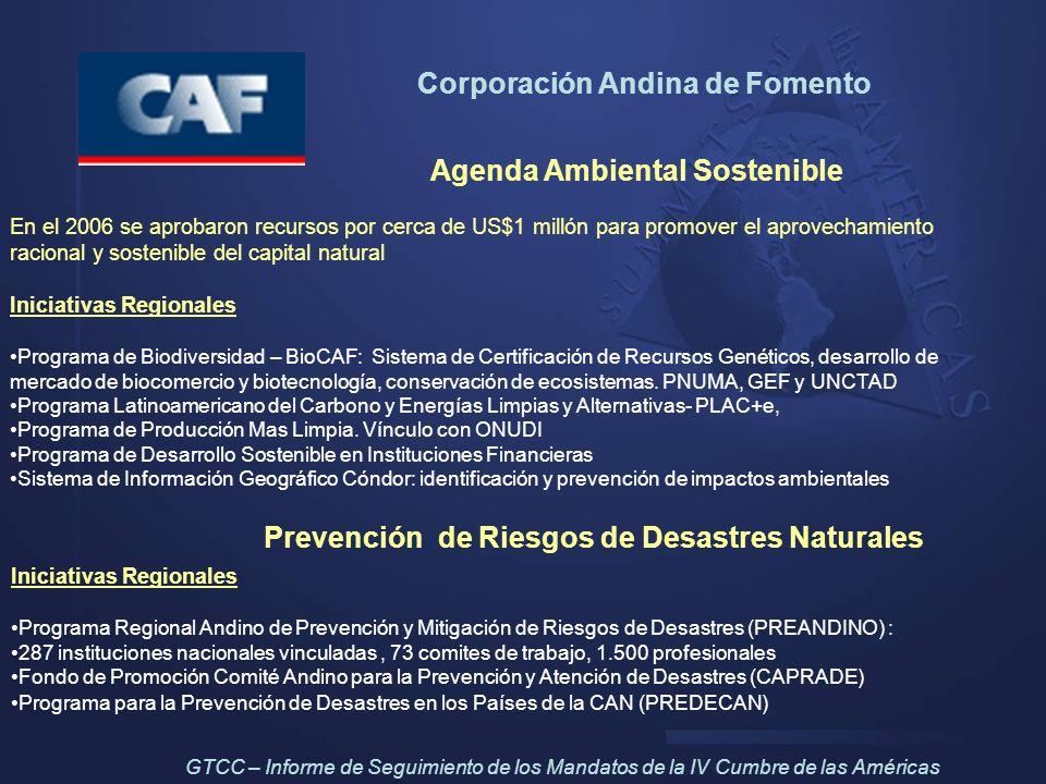 Corporación Andina de Fomento Agenda Ambiental Sostenible En el 2006 se aprobaron recursos por cerca de US$1 millón para promover el aprovechamiento r