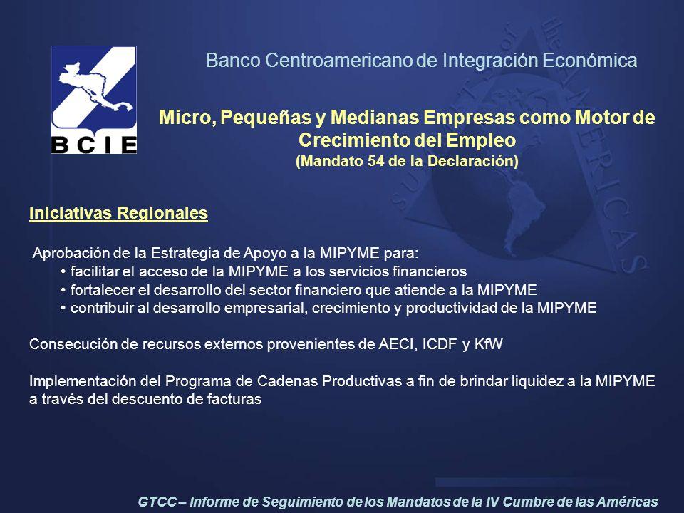 Banco Centroamericano de Integración Económica Micro, Pequeñas y Medianas Empresas como Motor de Crecimiento del Empleo (Mandato 54 de la Declaración)