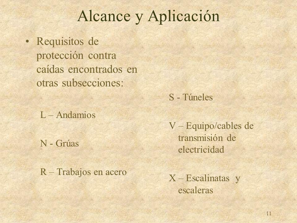 10 Alcance y Aplicación 1926.500 Estipula los requisitos de protección contra caídas en lugares de construcción Excepciones – antes de comenzar o desp