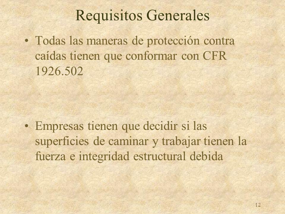 11 Alcance y Aplicación Requisitos de protección contra caídas encontrados en otras subsecciones: L – Andamios N - Grúas R – Trabajos en acero S - Tún