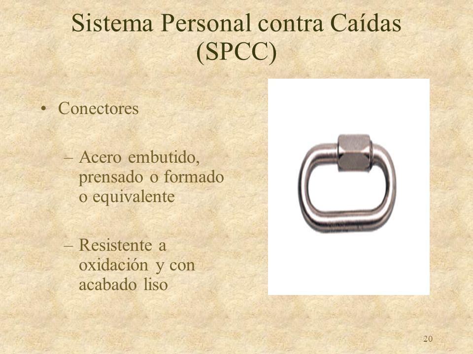 19 Sistema Personal contra Caídas (SPCC) Acolladores y cuerdas verticales –Fuerza requerida: 5000 libras –Cada empleado tiene su propia cuerda –Protej