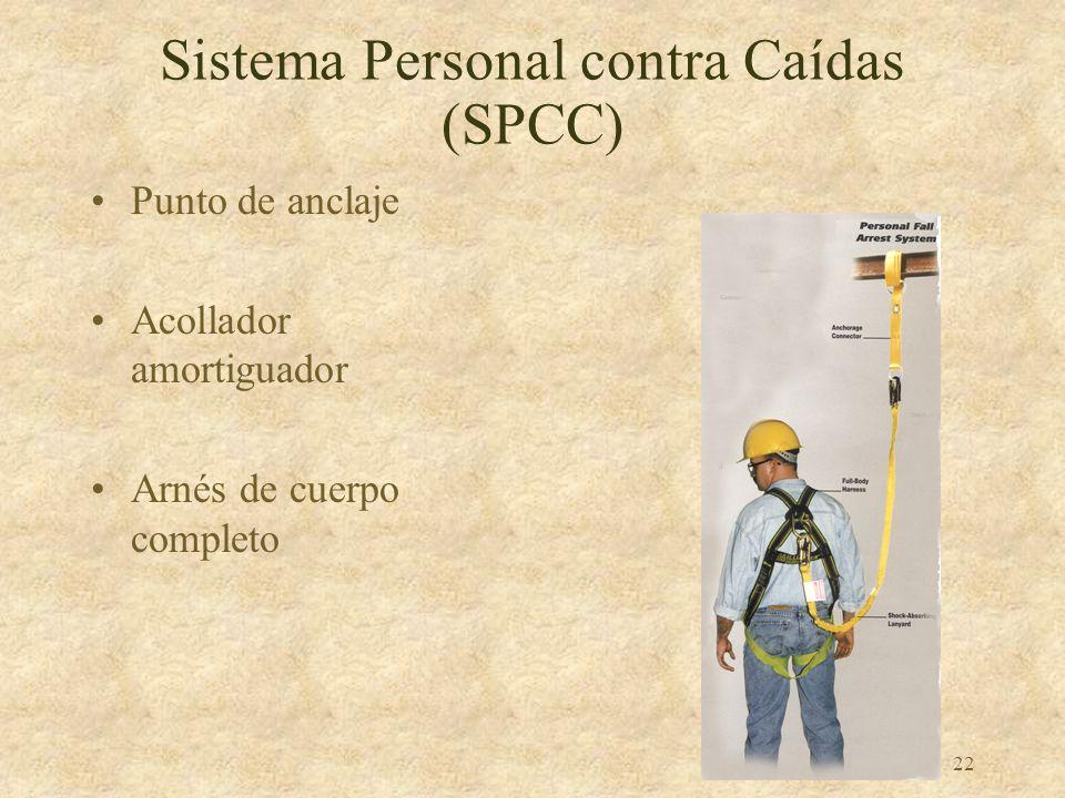21 Sistema Personal contra Caídas (SPCC) Anillos y Ganchos –Fuerza mínima 5000 libras –Ganchos del estilo auto-cierre
