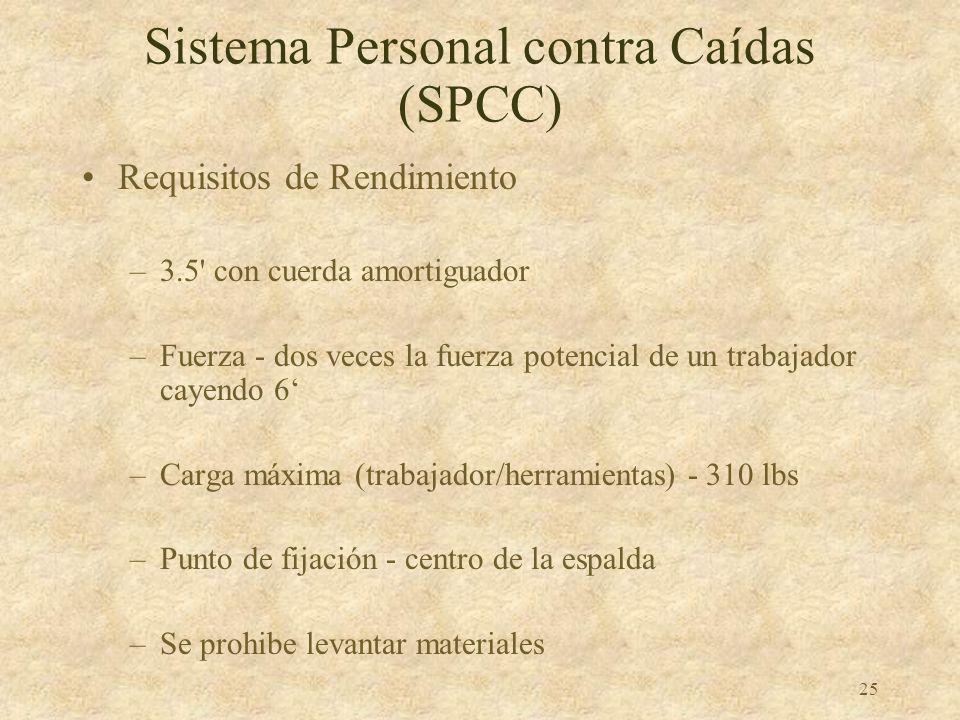 24 Sistema Personal contra Caídas (SPCC) Limite caídas a 6 Trabaje debajo del punto de anclaje para impedir caídas en columpio