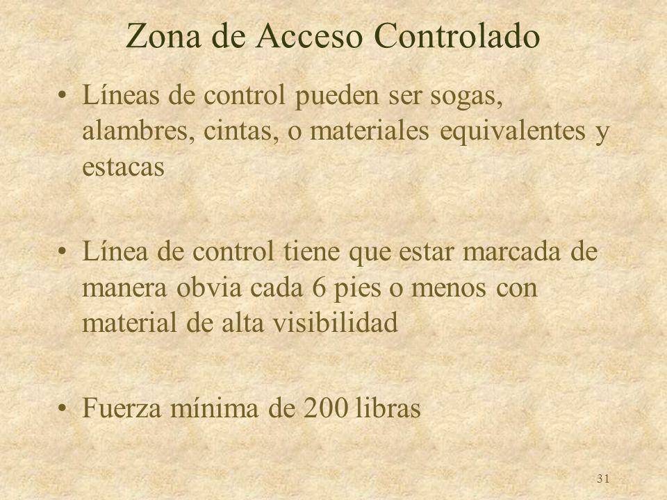 30 Zona de Acceso Controlado Un área donde se permite trabajar sin usar barandal, SPCC, o malla Acceso a la zona es controlado