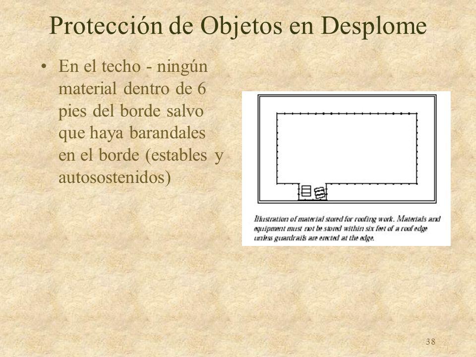 37 Protección de Objetos en Desplome Albañilería y trabajos similares –Ningún material excepto ladrillos o cemento dentro de 4 pies del borde –Libre d