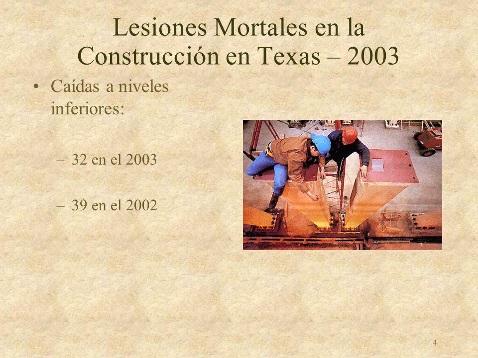 4 Lesiones Mortales en la Construcción en Texas – 2003 Caídas a niveles inferiores: –32 en el 2003 –39 en el 2002