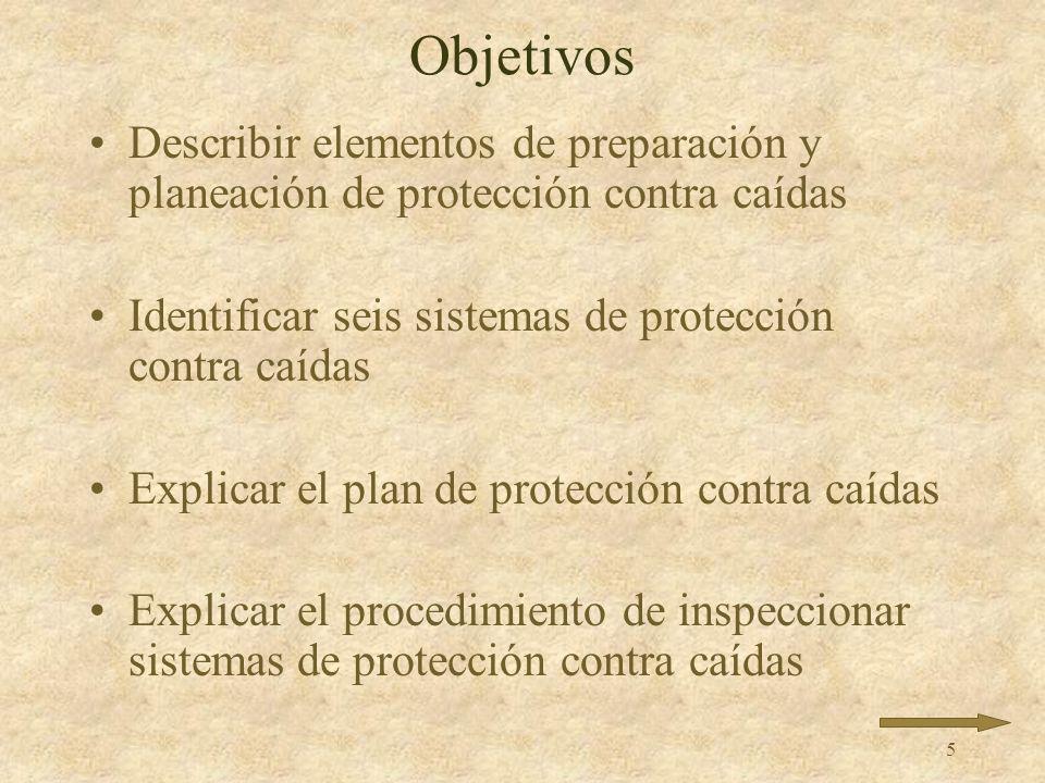 5 Objetivos Describir elementos de preparación y planeación de protección contra caídas Identificar seis sistemas de protección contra caídas Explicar el plan de protección contra caídas Explicar el procedimiento de inspeccionar sistemas de protección contra caídas