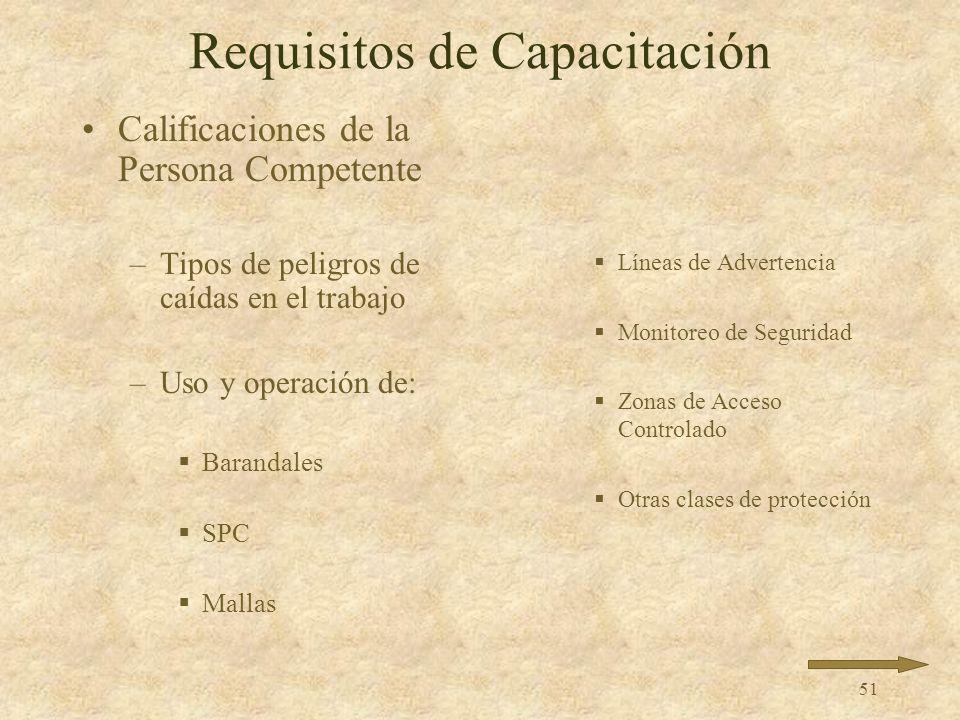 50 Requisitos de Capacitación Una persona competente realiza la capacitación
