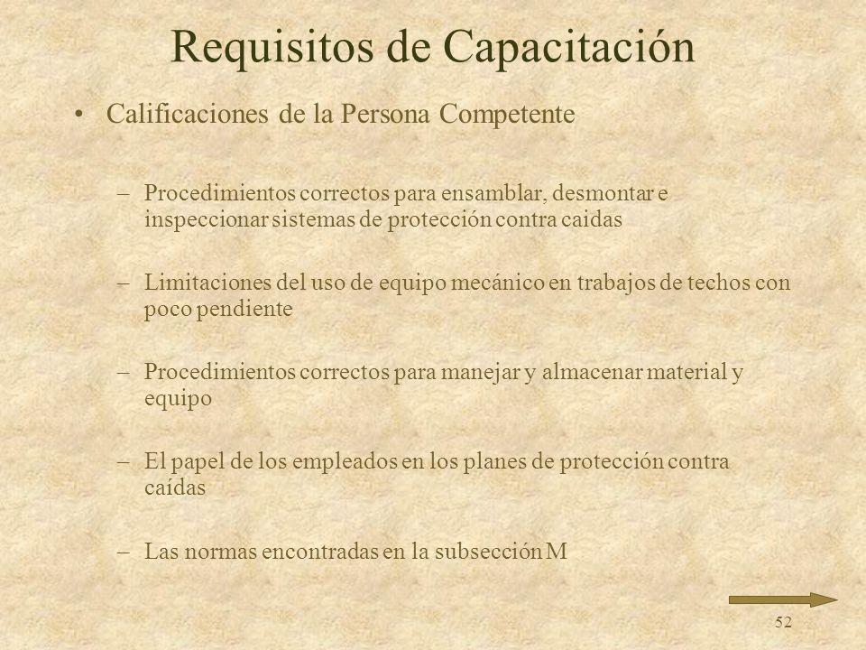 51 Requisitos de Capacitación Calificaciones de la Persona Competente –Tipos de peligros de caídas en el trabajo –Uso y operación de: Barandales SPC M