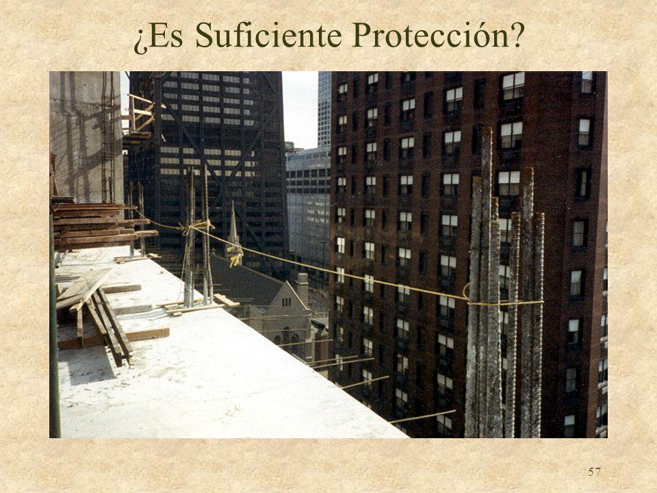56 Lados y Bordes sin Protección Cualquier lado o borde de una superficie para caminar o trabajar en el cual no hay pared o barandal al menos 39 pulga