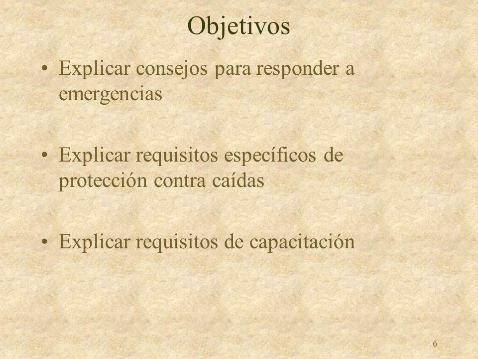 5 Objetivos Describir elementos de preparación y planeación de protección contra caídas Identificar seis sistemas de protección contra caídas Explicar