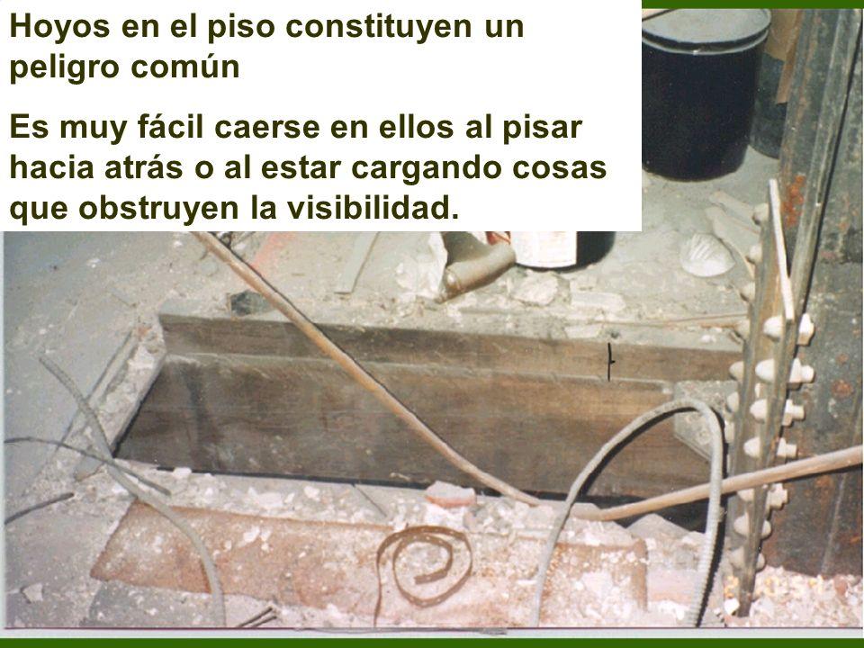 60 Hoyos –Barandal Todos los lados y bordes no protegidos Para pasar material: máximo dos secciones desmontables Acceso –puerta o entrada desviada Un