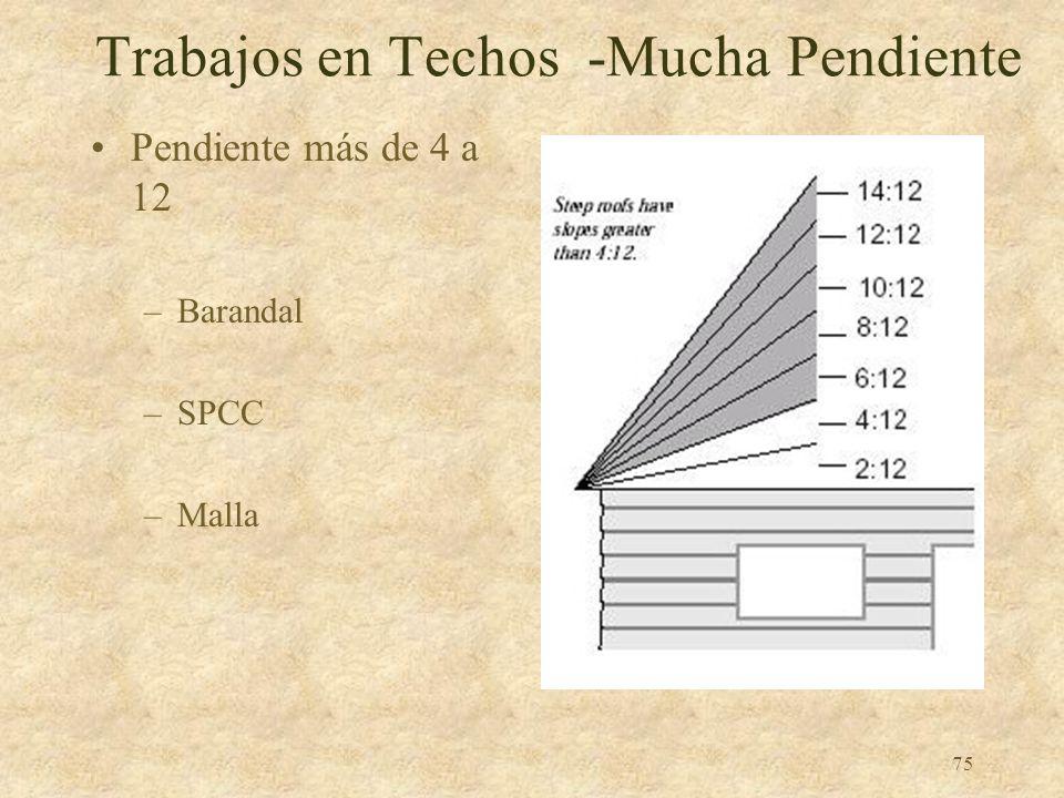 74 Trabajos en Techos Poca Pendiente Pendiente menos de o igual a 4 a 12 –Barandal –SPCC –Malla –Combinación de línea de advertencia y: Barandal Malla