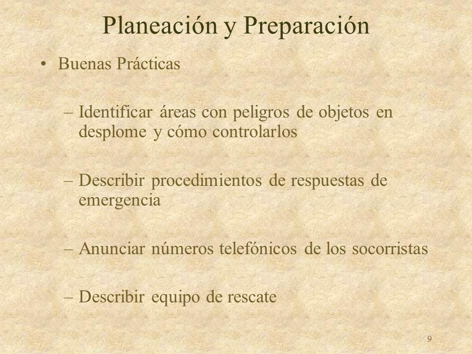8 Planeación y Preparación Buenas Prácticas –Identificar trabajos peligrosos –Asegurar el uso de sistemas apropiados –Identificar puntos de anclaje –D