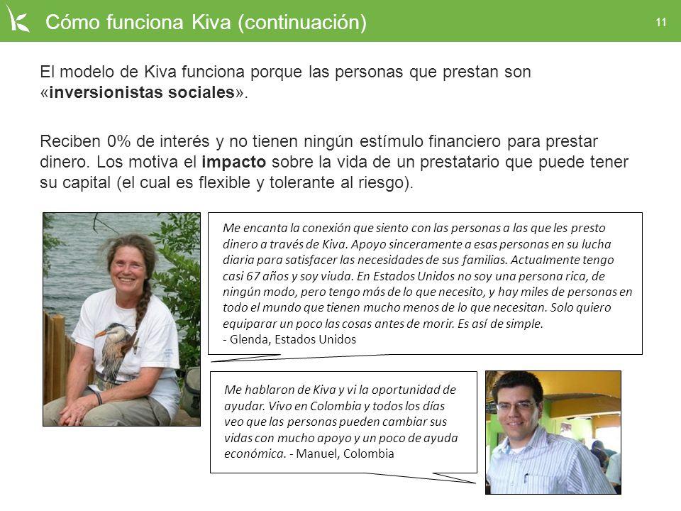 11 Cómo funciona Kiva (continuación) El modelo de Kiva funciona porque las personas que prestan son «inversionistas sociales». Reciben 0% de interés y