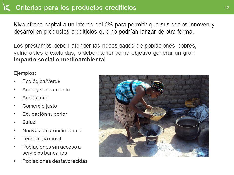 12 Criterios para los productos crediticios Kiva ofrece capital a un interés del 0% para permitir que sus socios innoven y desarrollen productos credi