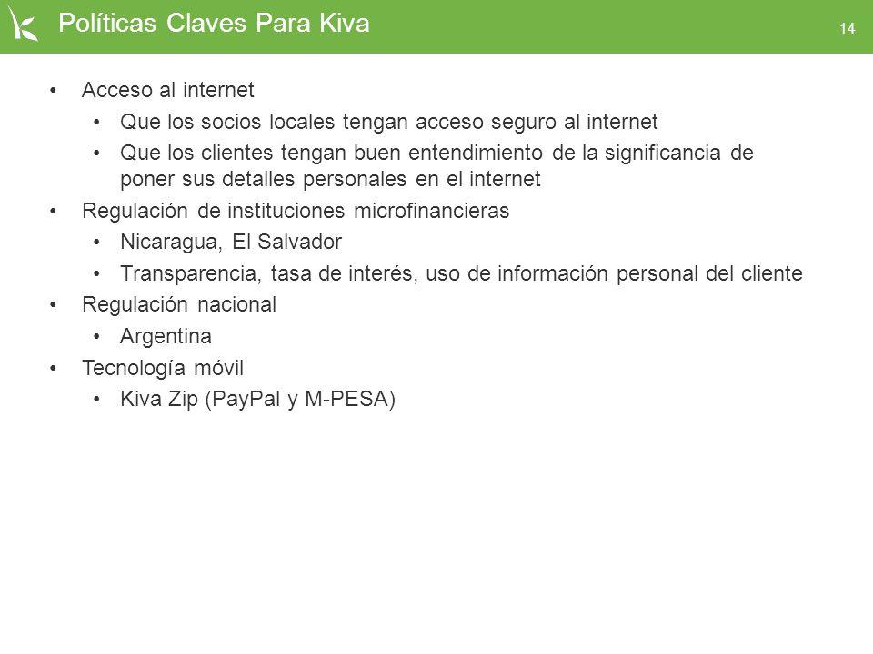 14 Políticas Claves Para Kiva Acceso al internet Que los socios locales tengan acceso seguro al internet Que los clientes tengan buen entendimiento de