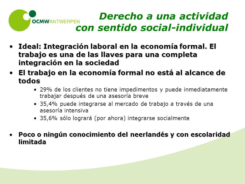 Derecho a una actividad con sentido social-individual Ideal: Integración laboral en la economía formal.