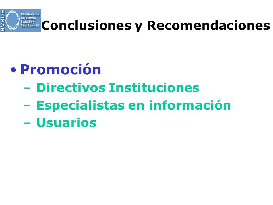 Conclusiones y Recomendaciones Promoción – Directivos Instituciones – Especialistas en información – Usuarios