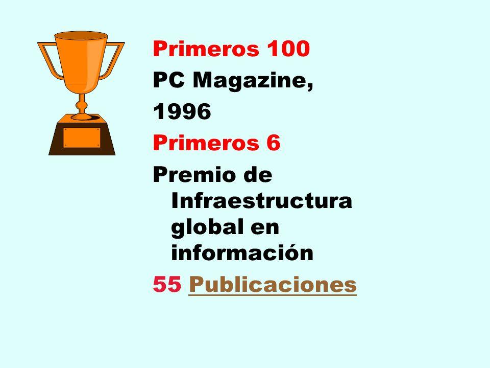 Primeros 100 PC Magazine, 1996 Primeros 6 Premio de Infraestructura global en información 55 PublicacionesPublicaciones