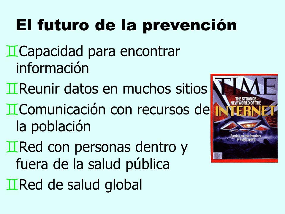El futuro de la prevención `Capacidad para encontrar información `Reunir datos en muchos sitios `Comunicación con recursos de la población `Red con pe