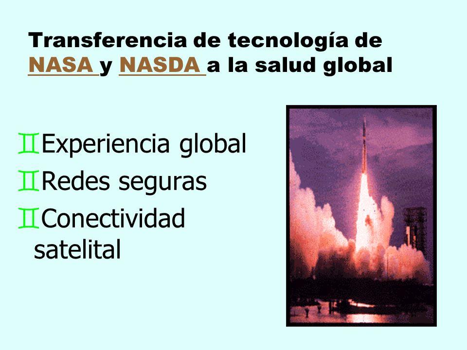 Transferencia de tecnología de NASA y NASDA a la salud global NASA NASDA `Experiencia global `Redes seguras `Conectividad satelital