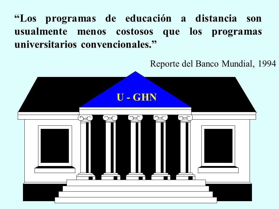 U - GHN Los programas de educación a distancia son usualmente menos costosos que los programas universitarios convencionales. Reporte del Banco Mundia