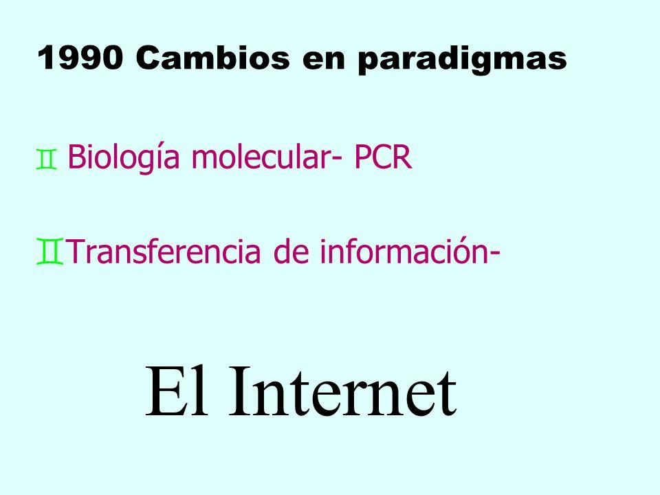 1990 Cambios en paradigmas ` Biología molecular- PCR `Transferencia de información- El Internet