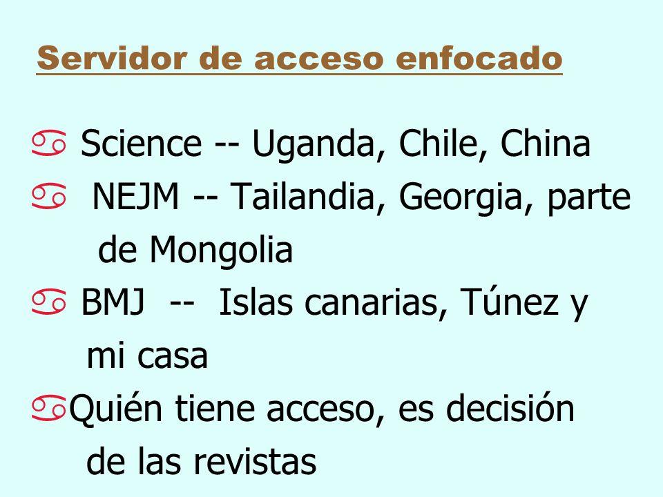 Servidor de acceso enfocado a Science -- Uganda, Chile, China a NEJM -- Tailandia, Georgia, parte de Mongolia a BMJ -- Islas canarias, Túnez y mi casa