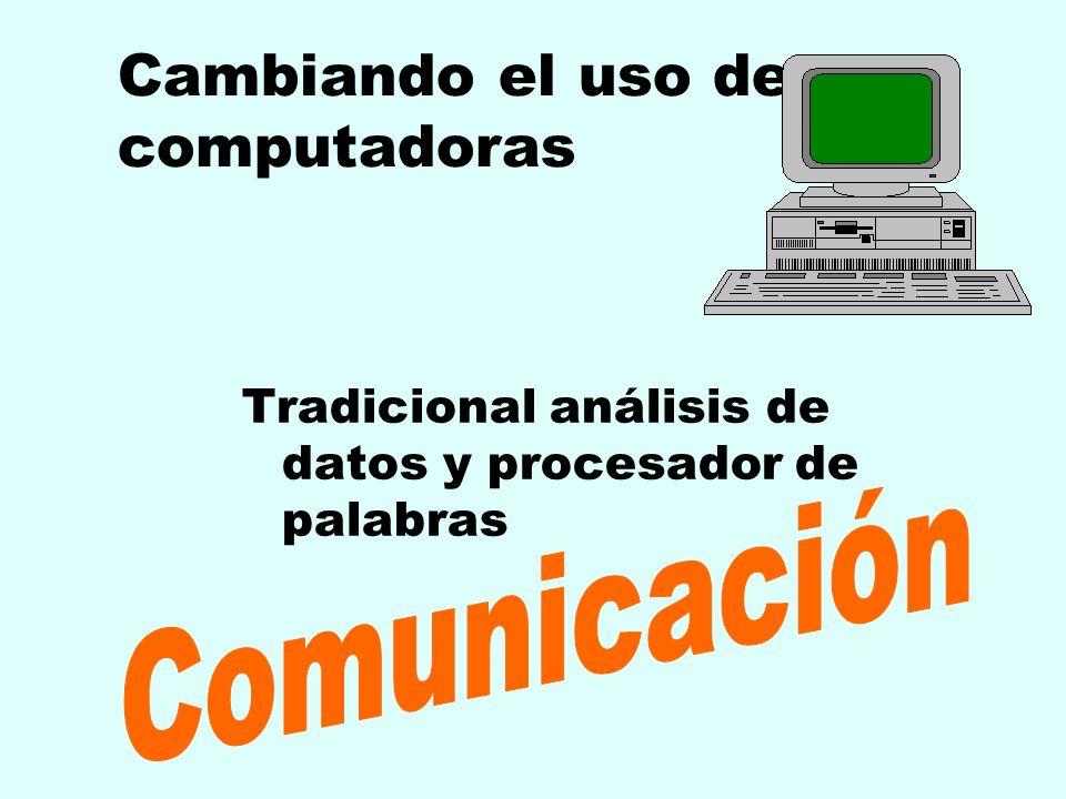 Cambiando el uso de computadoras Tradicional análisis de datos y procesador de palabras