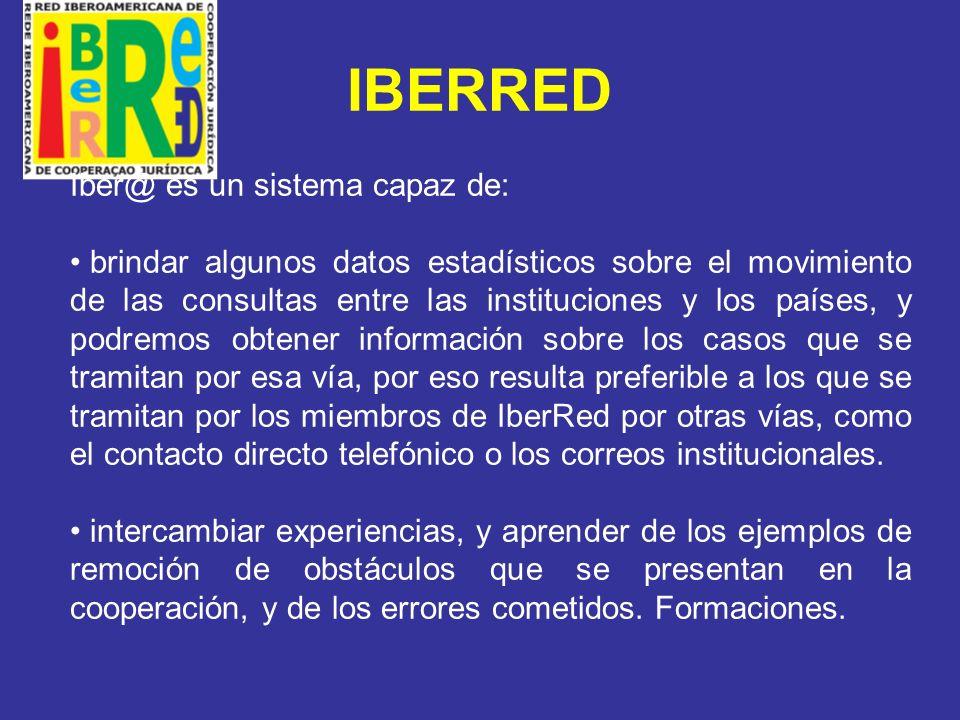 IBERRED Reiteramos nuevamente a los Fiscales Generales la necesidad de contar con el compromiso institucional de los Ministerios Públicos para que sus oficinas encargadas de la cooperación y sobre todo sus puntos de contacto y enlaces nos brinden los datos estadísticos y casos tramitados por IberRed.