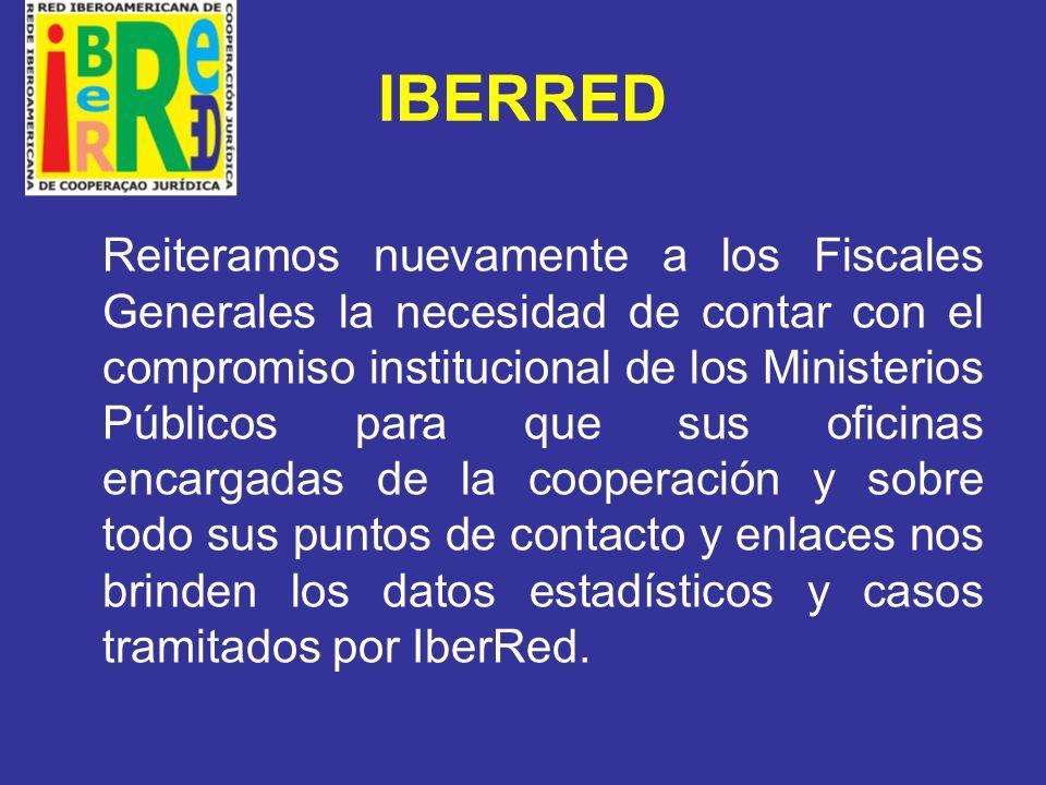 IBERRED GRUPO DE APOYO se abordó el problema de financiamiento de IberRed y el compromiso institucional en el acompañamiento a la COMJIB en la búsqueda de fondos, en la difusión de IberRed y el Iber@ a lo interno de las instituciones, y el compromiso de AIAMP y Cumbre Judicial Iberoamericana de incorporarlos en los módulos de capacitación que lleven a cabo.
