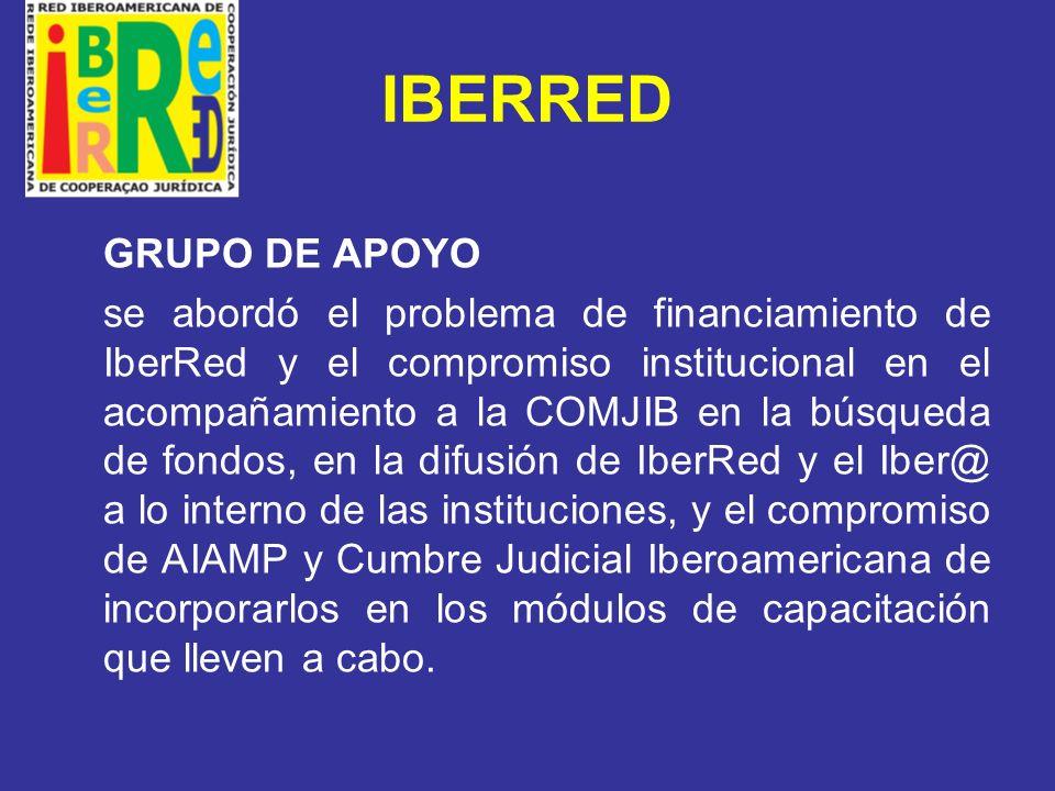 IBERRED CUMBRE JUDICIAL IBEROAMERICANA COMJIB ha dotado de recursos humanos, materiales y ha financiado las actividades de la IberRed.
