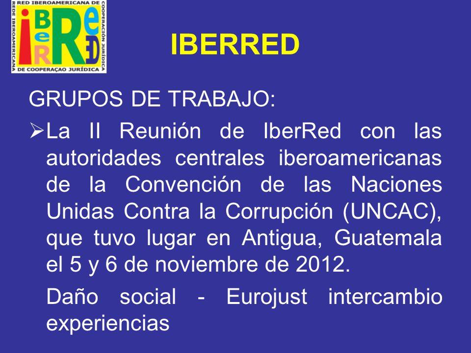 IBERRED La III Reunión de IberRed con las autoridades centrales iberoamericanas de la Convención de las Naciones Unidas Contra la Delincuencia Organizada Transnacional (UNTOC) que tuvo lugar en Antigua, Guatemala el 7 y 8 de noviembre de 2012.