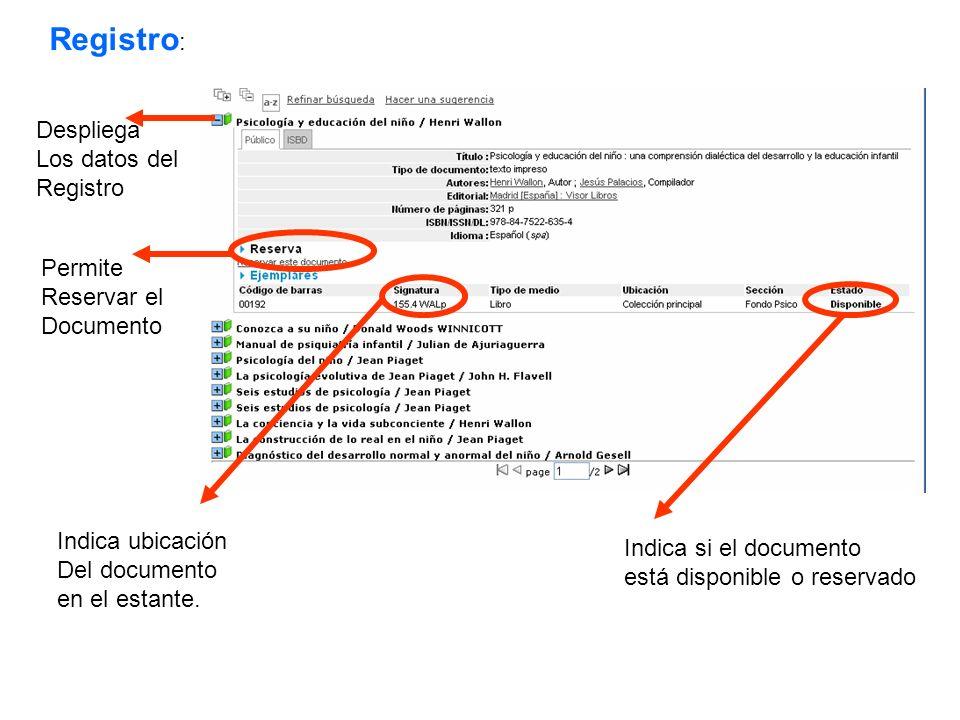 Registro : Despliega Los datos del Registro Permite Reservar el Documento Indica ubicación Del documento en el estante. Indica si el documento está di