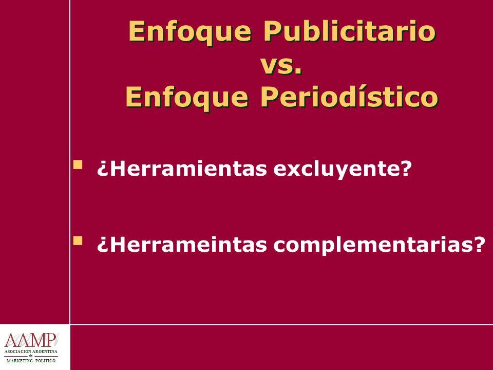 ASOCIACION ARGENTINA de MARKETING POLITICO Enfoque Publicitario vs. Enfoque Periodístico ¿Herramientas excluyente? ¿Herrameintas complementarias?